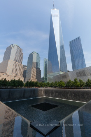 Freedom tower with reflecting pool