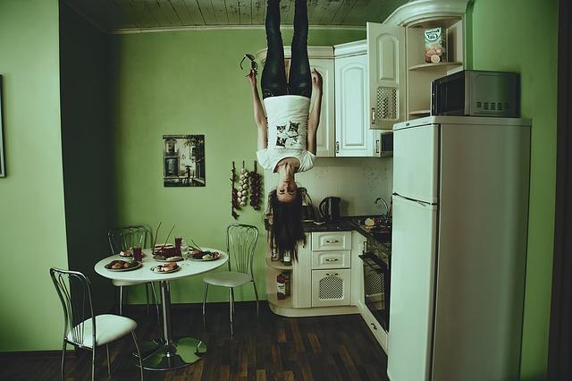 refrigerator-upside down girl